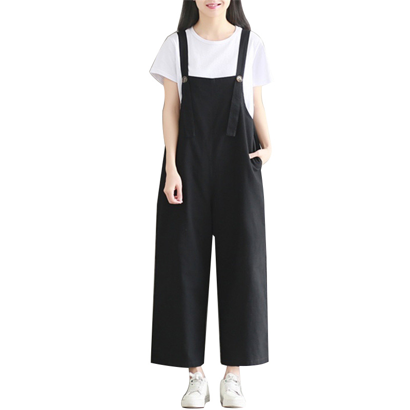 40b5b98a96b6 2019 summer new women s overalls simple fashion black jumpsuits cotton  linen bib female loose fit students