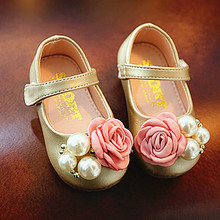 POSH DREAM Floral Rose Autumn Festival Baby Girls First Walker Shoes Pink  Gold White Princess Brand Toddler Baby Girls Shoes ff9be80e9c61