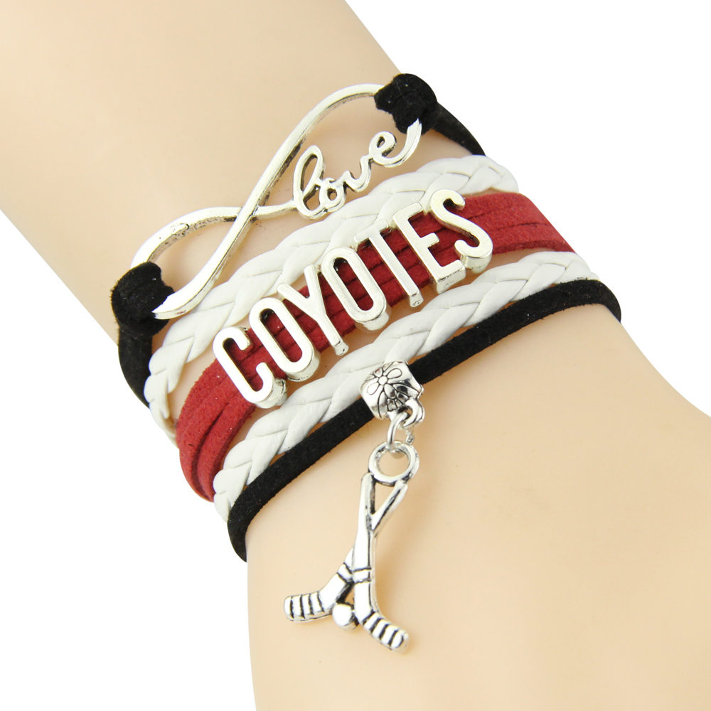 Chain Bracelet Infinite Love COYOTES Black White Red Cord Golf Dropshipping