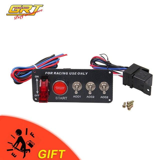 GRT-de alta calidad de fibra de carbono de carreras de coche 12 V LED interruptor de encendido, Panel de inicio del motor Botón de palanca LED