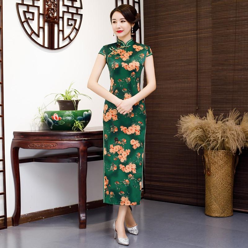 fef8cb15480 Kurzarm 2019 Party Dame Grün Kleid Qipao Mode Chinesischen Frauen Schlank  Sommer Vestido Cheongsam Stil Kleider Rayon Frühling S rot 5xl PkiwXZOulT
