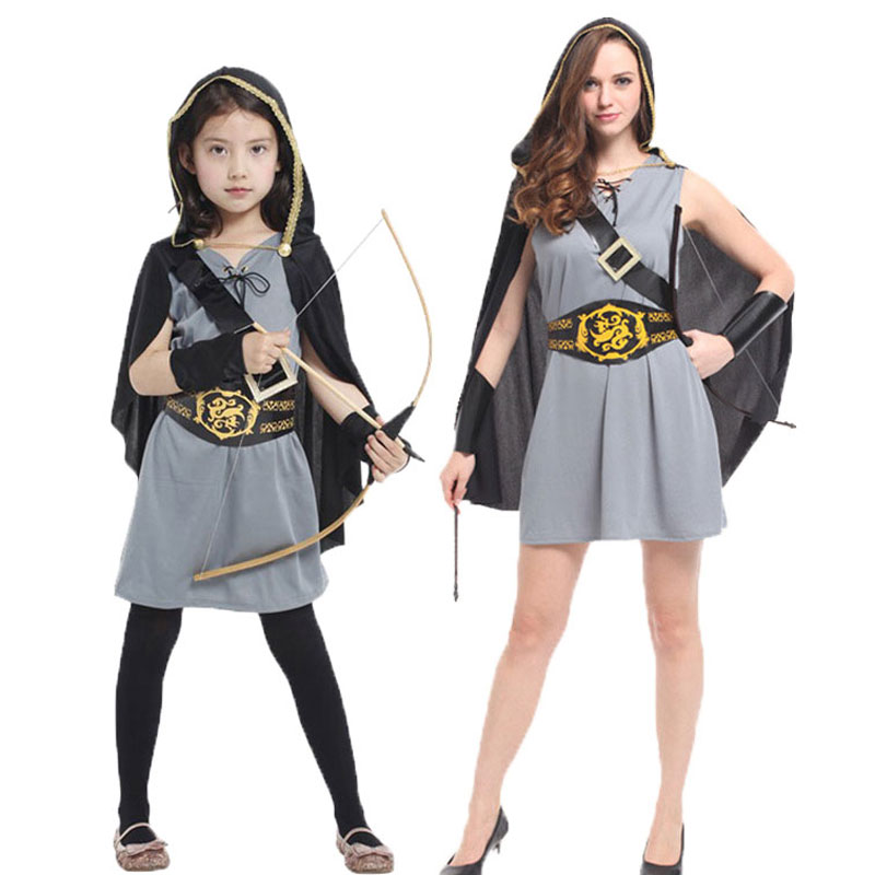 Umorden Halloween Carnival Party Costume Mom Daughter Warrior Soldier Archer Knight Hero Huntress Costumes For Women Girl Girls