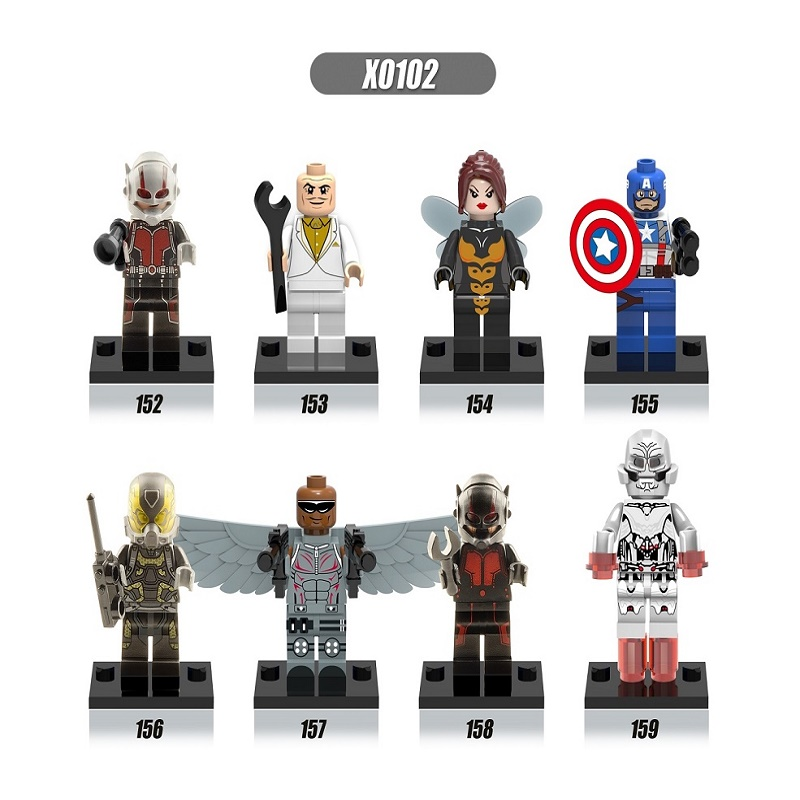 Single Sale Super Heroes Antman Captain America Egghead Yellow Jacket Female Wasp Falcons Building Blocks Kids Gift Toys X0102 singlesale captain america 3 with car civil war marvel super heroes the avengers minifig assemble building blocks kids toys