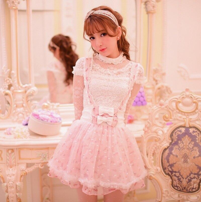 Princess sweet lolita skirt Candy rain Japanese style Cute Net yarn chiffon flower lace bow Braces skirt C15AB5663