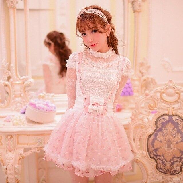 446acd1125a Princess sweet lolita skirt Candy rain Japanese style Cute Net yarn chiffon  flower lace bow Braces skirt C15AB5663