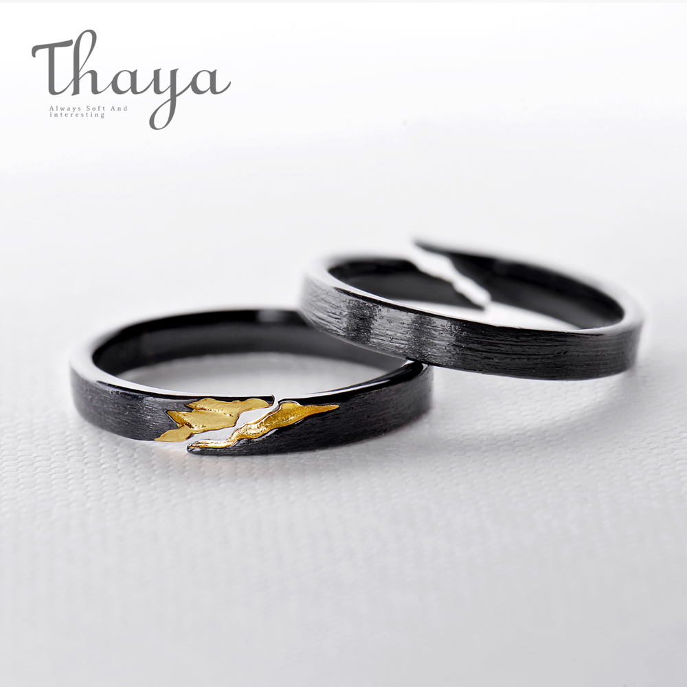 Thaya 100% s925 silver Gold Crack Ring Ancient Black Wood Grain Design Female Finger Ring Stackable for Women Fine Jewelry stay gold vw300 wood grain