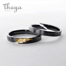 Thaya S925 Серебряное Золотое кольцо с трещинкой, старинное черное дерево, ручная работа, штабелируемые женские вечерние ювелирные изделия