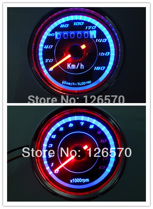12V Easy to install Universal Motorcycle LED Backlight  Odometer+Tachometer Speedometer Speedo meter Tacho 180 km/h 13000RPM old school motorcycle gauges