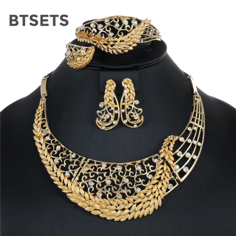 BTSETS Nigerian Wedding Jewelry Sets For Bride Vintage African Beads Jewelry Set Gold Color Fashion Jewelery Sets For Women Gift