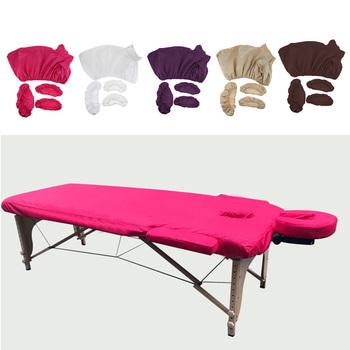 4 sztuk zestaw profesjonalny Salon masaż akupunkturowy stolik przy łóżku dopasowane prześcieradła Pad twarz kołyska ręcznie poduszka pokrywa zestaw zestaw tanie i dobre opinie Footful