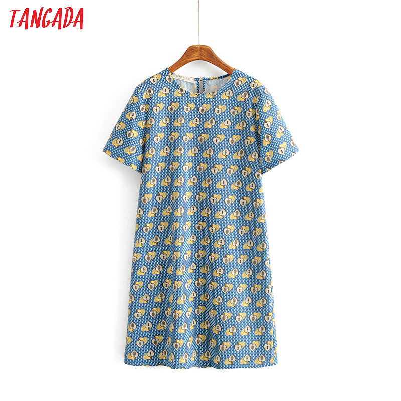 Tangada Women Loose Blue Heart Dress Fashion O Neck Short Sleeve Ladies Mini Dress Summer Chic Vestidos AH55