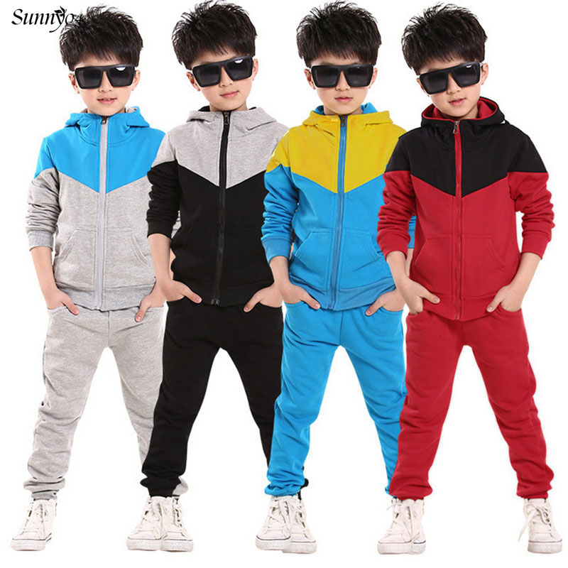 2017 Retail Children Jogging Tracksuit Set Hooded Coat + Pants Kids Boy Baby Spring Autumn Clothes Sports Suit 4 6 8 10 12 Years free shipping 2017 spring autumn children baby boys hooded sports suit letter 2pcs set kids