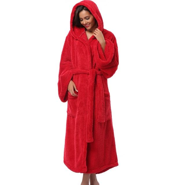 Winter Thick Warm Women Robes 2017 Coral Fleece Sleepwear Long Robe Woman Hotel Spa Plush Long Hooded Bathrobe Nightgown Kimono