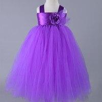 Purple Wedding Flower Girl Dresses Tulle Tutu Dress Baby Kids Princess Costumes Pageant Performance Party Girls