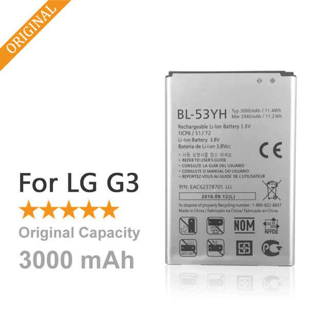 100% Оригинал 3000 мАч Замена Телефона Аккумулятор Для LG G3 D855 D850 D858 D859 D830 D851 F460 F400K/S/L VS985 BL53YH Батареи