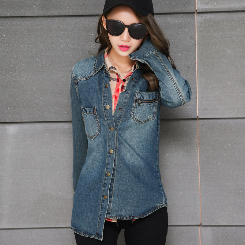 2017  Spring and Autumn New Cotton Shirt Women 's Bottles Denim Shirt Women Long Sleeve Cotton Denim Shirt Female 9646