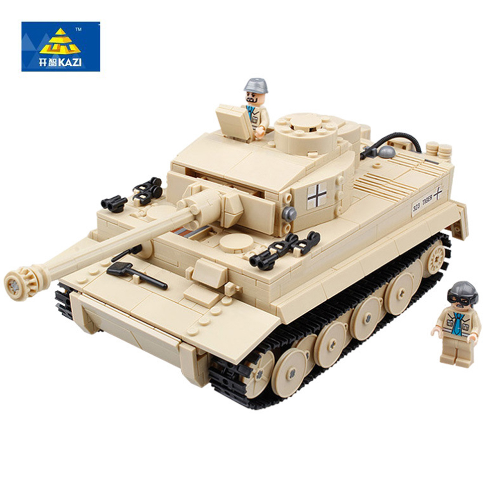 KAZI 82011 995pcs Century Military German King Tiger Tank Cannon Building Blocks Bricks Model Toys educational Toys for children kazi 995pcs century military german king tiger tank cannon building blocks bricks model sets aiboully 82011 toys compatible gift