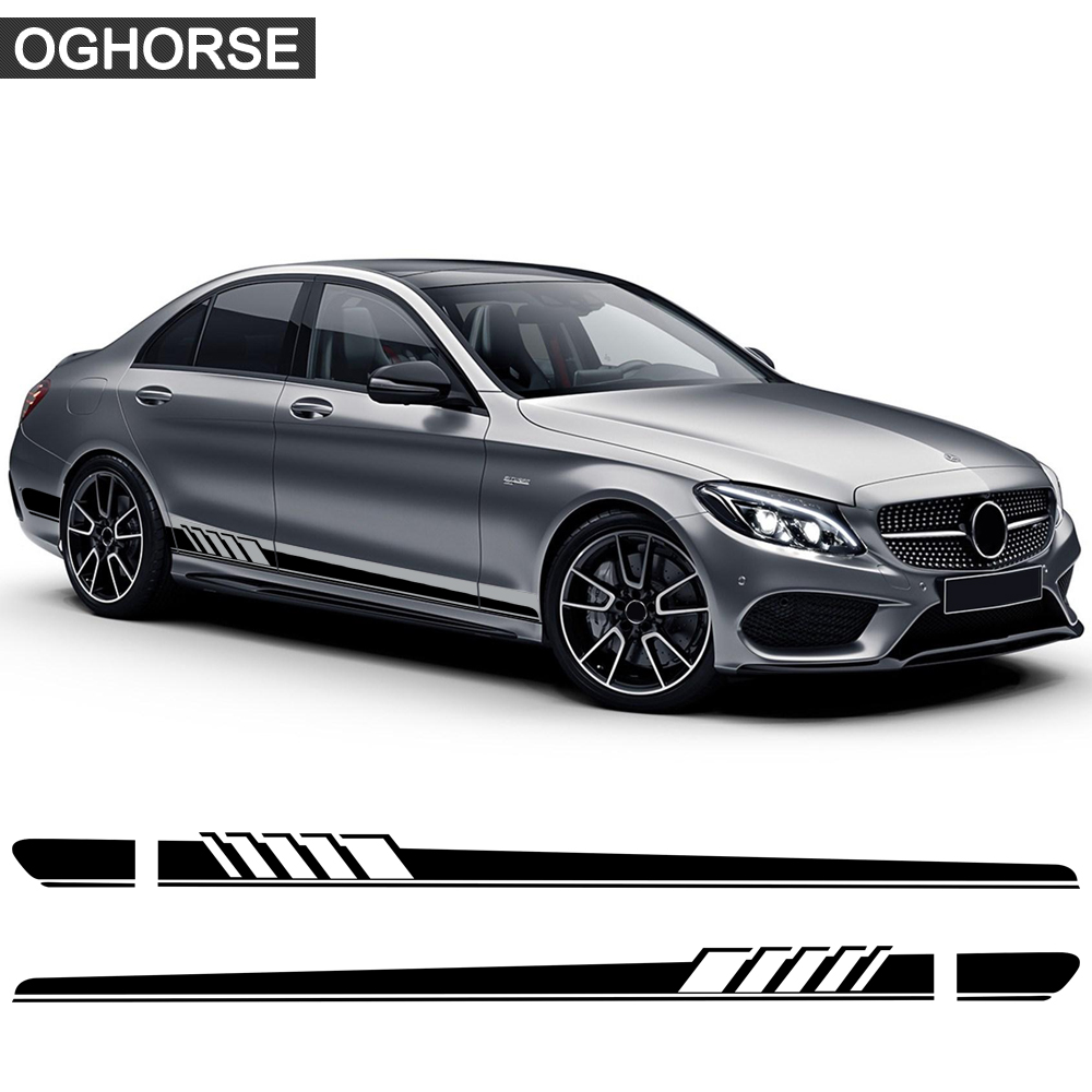 Edition 1 Side Stripe Skirt Sticker for <font><b>Mercedes</b></font> Benz C Class W205 C63 C180 C200 <font><b>C300</b></font> C350 C43 <font><b>coupe</b></font> W204 W203 AMG Accessories image