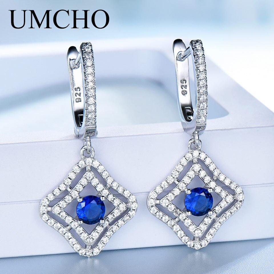 UMCHO véritable argent 925 bijoux rond créé Nano bleu saphir pince boucles d'oreilles pour les femmes anniversaire cadeau breloques Fine bijoux