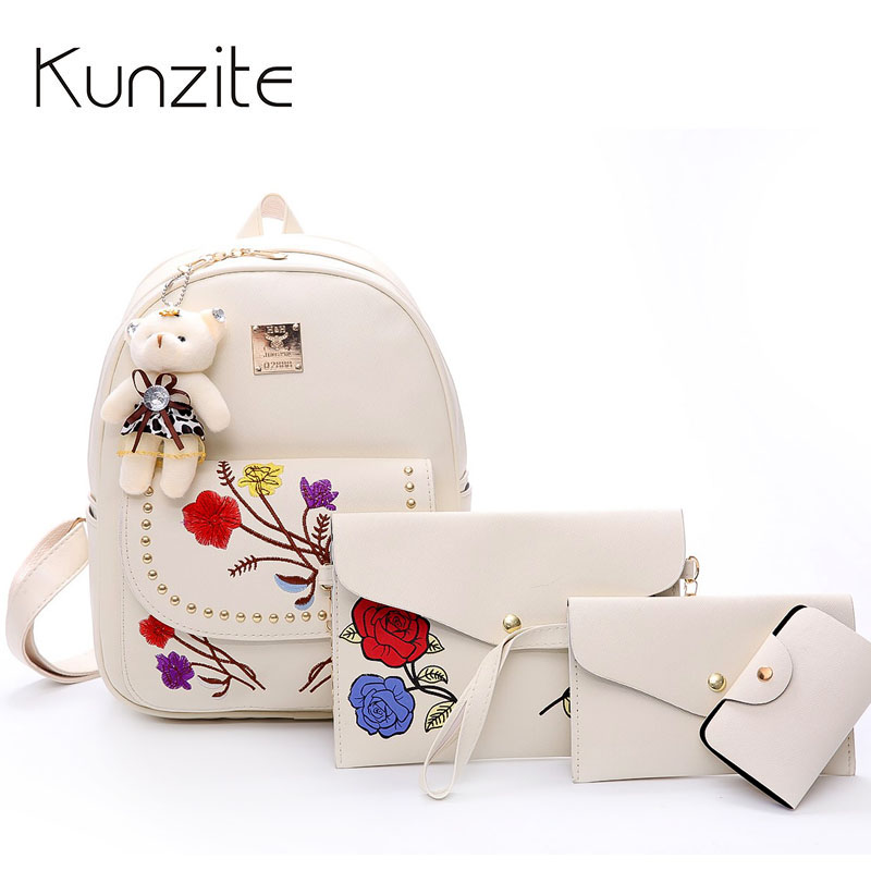 4 Pcs/Set Fashion Women Backpack Floral Embroidery Pu Leather Backpacks For Girls School Bags Travel Shoulder Bagpack Mochilas doodoo fashion streaks women casual bear backpacks pu leather school bag for girl travel bags mochilas feminina d532