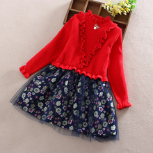 New Lace Flower Princess Dress 2018 Autumn Girl Winter Long Sleeve Wool Kids Girls Clothes Children CLothing