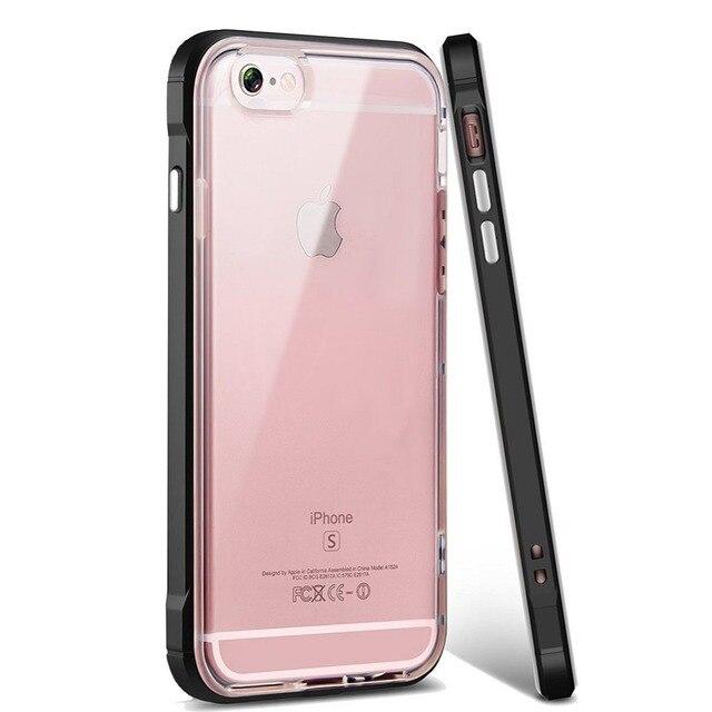 Cristal claro a prueba de golpes suave TPU doble capa híbrida protección contra caídas funda trasera para Iphone 5 6 s 6 plus 7 7 plus 8 8 x