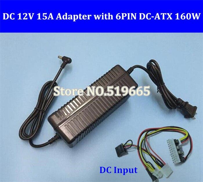 12 V 160 W 24Pin ATX commutateur pcio PSU voiture Auto Mini ITX avec adaptateur convertisseur AC DC 12 V 15A 180 W alimentation LED chargeur LCD CCTV