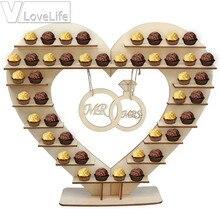 Suministros para fiestas de regalos de cumpleaños de árbol de corazón de madera para decoración de mesa de boda Vintage