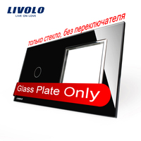 Free Shipping Livolo Luxury Black Crystal Glass 151mm 80mm EU Standard 1Gang 1 Frame Glass Panel