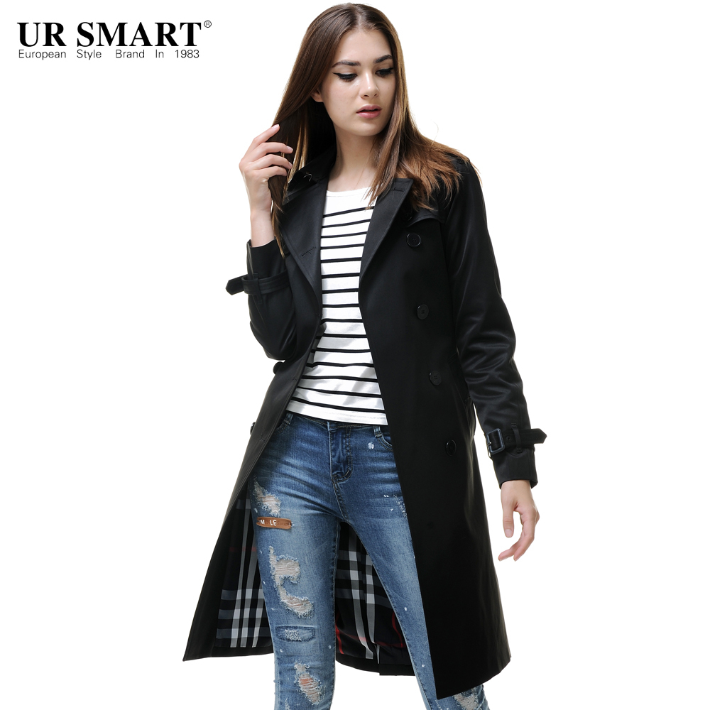 URSMARTHigh end brand new autumn and winter female long black coat ...