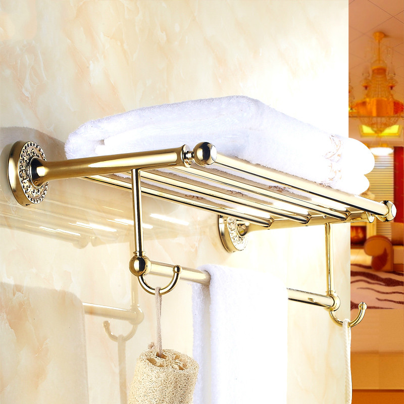 Antique Bathroom Shelf Pendant Bathroom Towel Rack European Copper Towel Rack Gold Bathroom Accessories new arrival antique copper with ceramic towel rod rack shelf towel rack fashion bathroom accessories luxury bath towel hj 1812 page 7