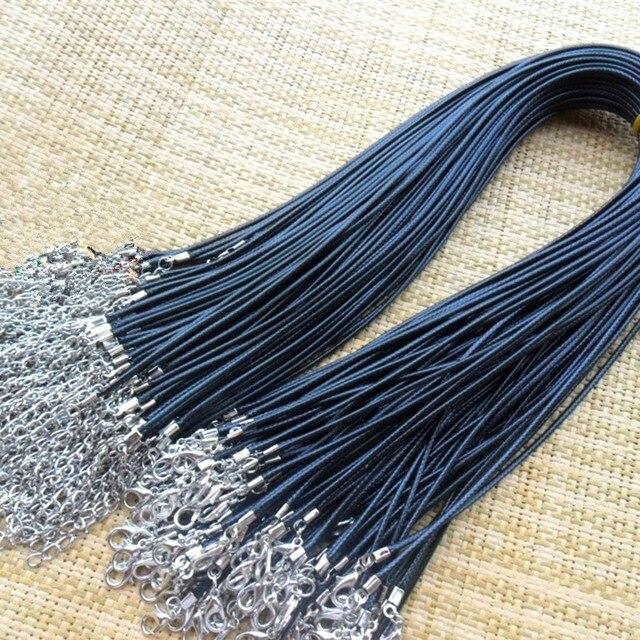 Toptan 10 adet/grup 1.5mm siyah deri kordon balmumu halat zincir kolye 45 cm ıstakoz kanca DIY takı aksesuarları