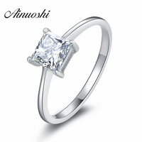 1 Carat Princess Cut Ring Sona Nscd Simulated Diamond 925 Sterling Silver Band Ring White Gold
