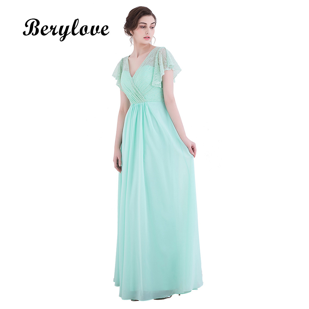 Berylove Lovely Mint Green Prom Dresses 2018 Long Simple Chiffon