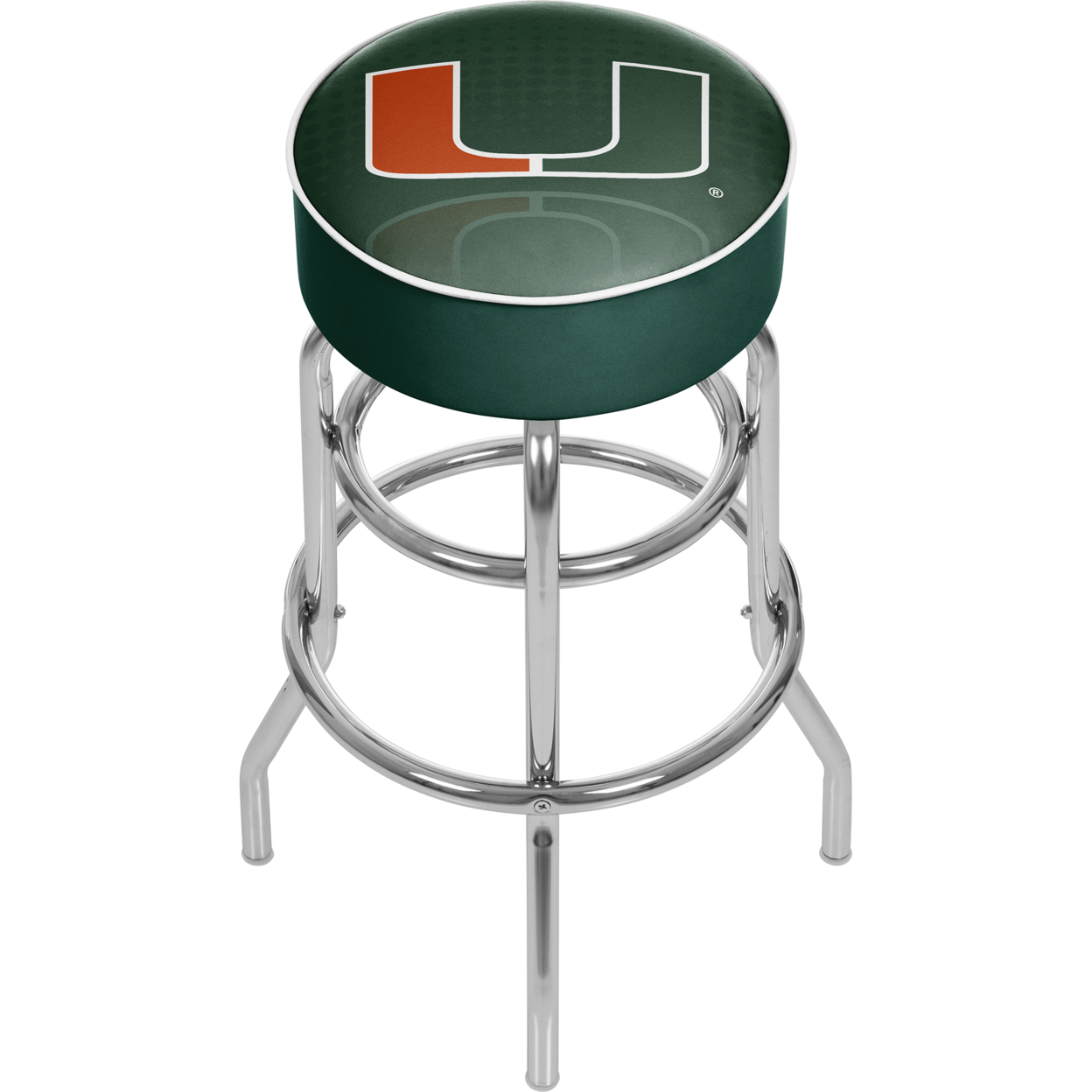 University of Miami Chrome Bar Stool with Swivel - Reflection