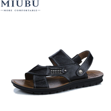 MIUBU Leather Big Size Men Shoes Fashion Flat Sandles Summer Beach Male Sandals For
