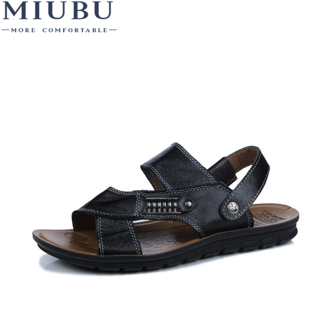 c839d82e1e5e MIUBU Leather Big Size Men Shoes Fashion Flat Sandles Summer Men Shoes  Beach Male Sandals Leather Sandals For Men