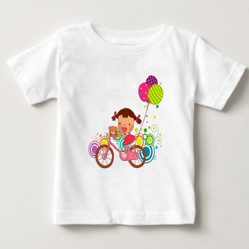 2018 New Funny Boy Girl t shirt Cartoon Bike T shirts Baby Kids Print Tops Tees Children Summer Girl Top Tees Child Clothes MJ in T Shirts from Mother Kids