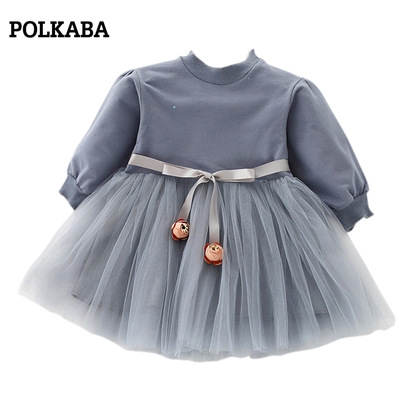 Long Sleeve Girls Dress Baby Girls Infant Tulle Fancy Dresses Princess Cotton High Neck 6-36 Months Baby Dress Birthday 1 Year