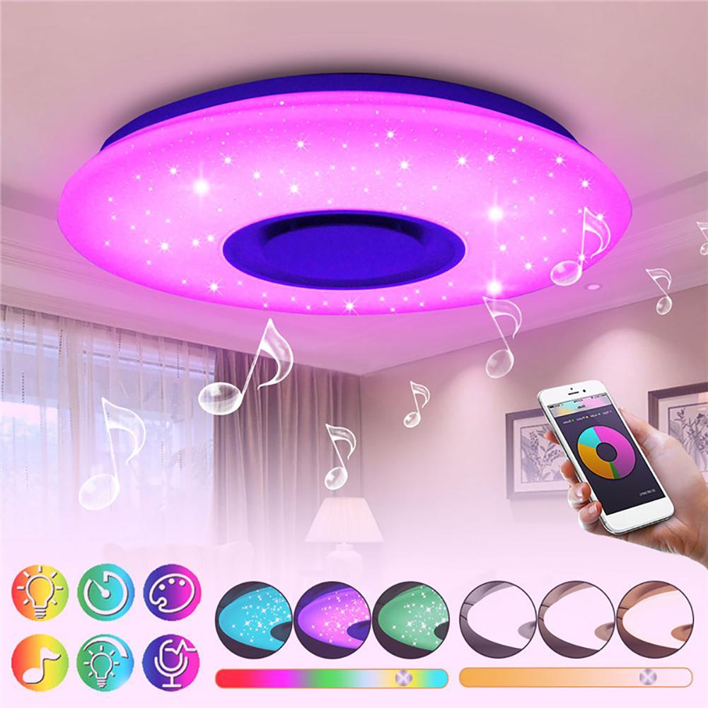 24 W ciel étoilé plafonnier à LED carré d'intensité réglable Bluetooth haut-parleur APP lampe de contrôle