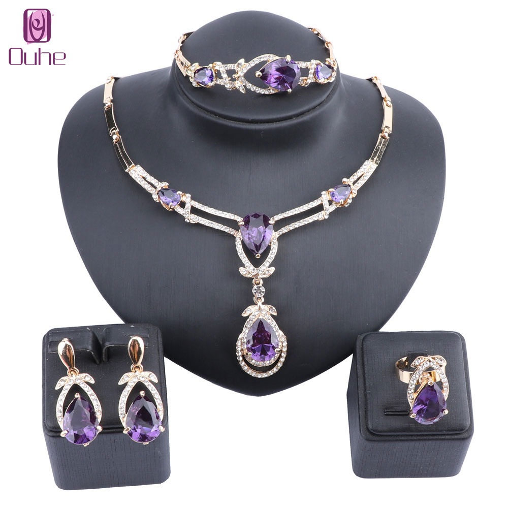 Women Gold Color Purple Zircon Crystal African Beads Necklace Bracelet Earring Ring Saudi Jewelry Set Party Bridal Decoration