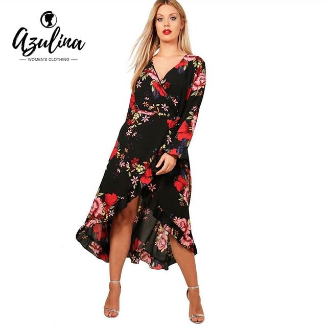 Aliexpress Buy Azulina Plus Size Floral Print V Neck Long