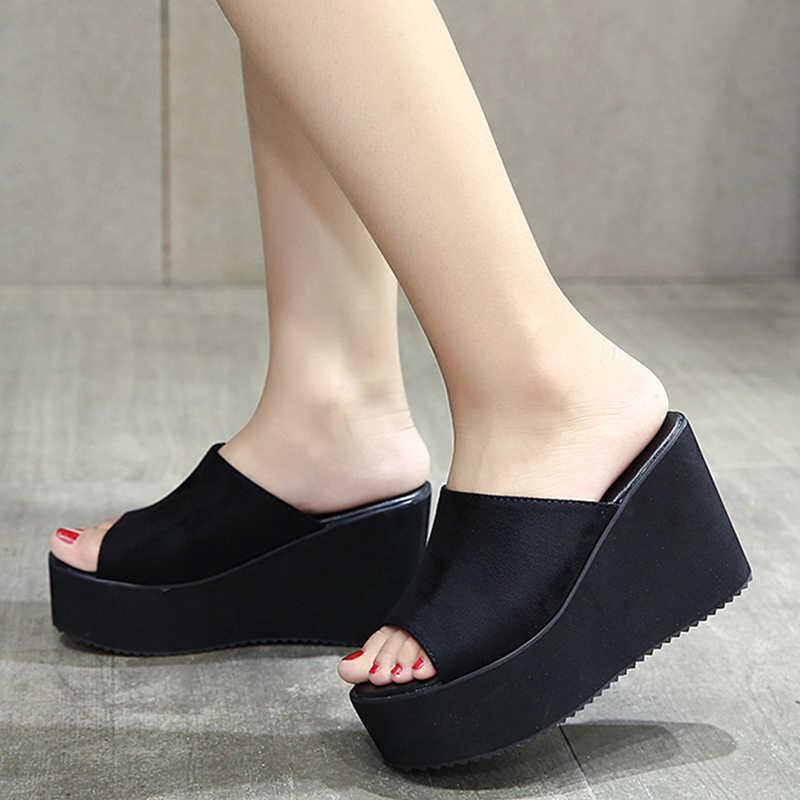 Gdgydh ฤดูร้อน Slip On Wedges รองเท้าแตะแพลตฟอร์มรองเท้าส้นสูงแฟชั่นเปิด Toe สุภาพสตรีรองเท้าสบายๆโปรโมชั่นขาย