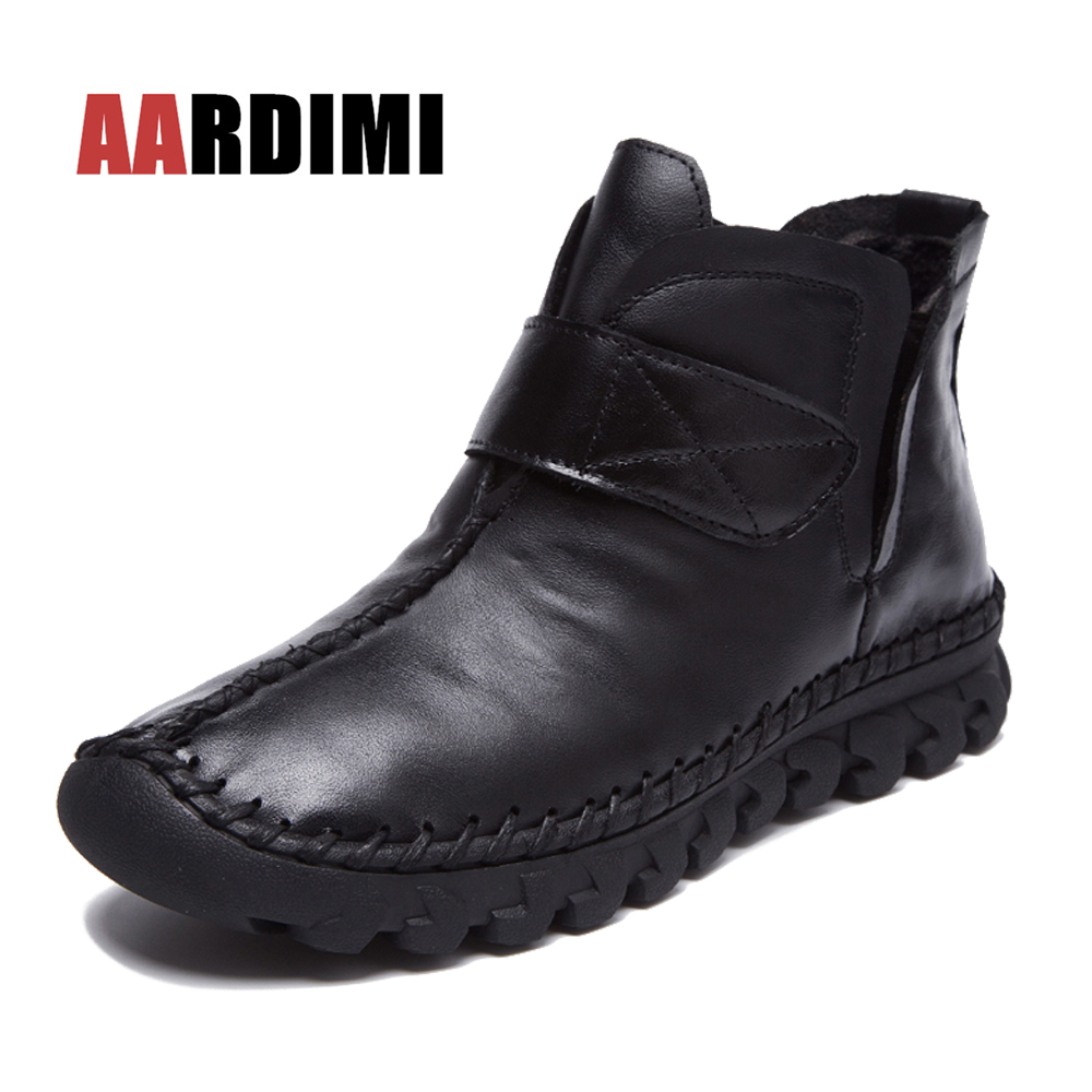AARDIMI Design Retro Women Boots Genuine Leather Autumn&Winter Women Martins Boots Solid Leather Shoes Woman Botas Mujer