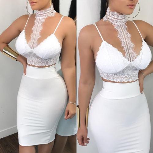 2d8407de866fa6 Vrouwen Dames 2 Stuk Kant Bodycon Tweedelige Outfits Mouwloze Shirt Crop  Tops Skinny Rok Set Bandage