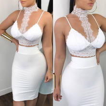 Women Ladies 2 Piece Lace Bodycon Two Piece Outfits Sleeveless Shirt Crop Tops Skinny Skirt Set Bandage Party Clothing(China)