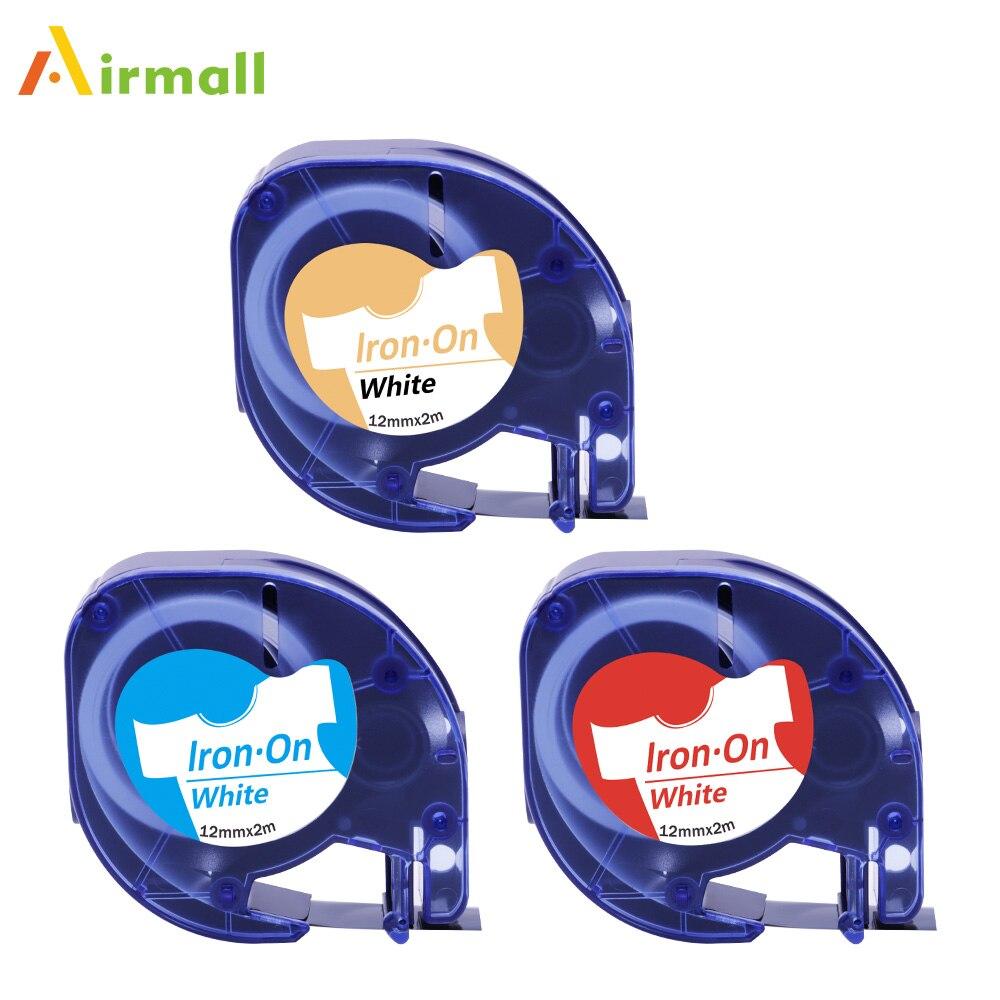 Airmall 100 pièces DYMO LetraTag thermocollant Étiquette Bande LT 18771 18775 18779 12mm Noir/Bleu/Rouge sur Blanc Compatible pour LT110T LT100H