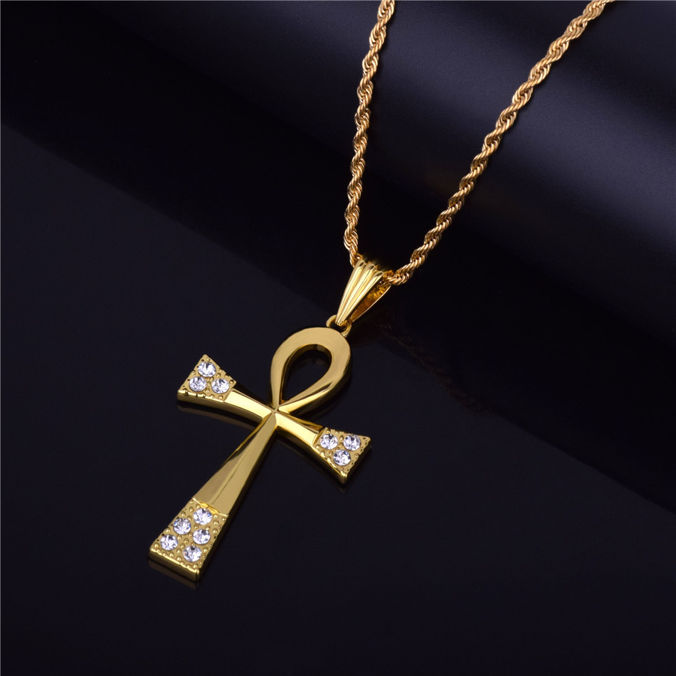 все цены на Fly Raw Stone Men's hip-hop necklace Egyptian Ankh key pendant beautifully plated alloy rhinestone cross Pendant necklace jewlry