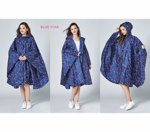Image 4 - Womens Stylish Waterproof Rain Poncho Coloful Print Raincoat with Hood and Zipper