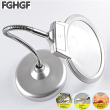 FGHGF MG4B-7 HD LED Light Magnifier 2x and 5x Times Reading Tool Identification Portable Magnifier Repair Tool Nail Lamp metal 75 times table magnifier jade bronze coin identification microscope
